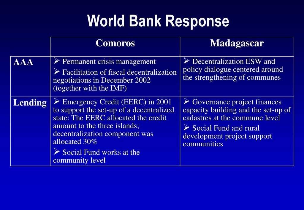 World Bank Response