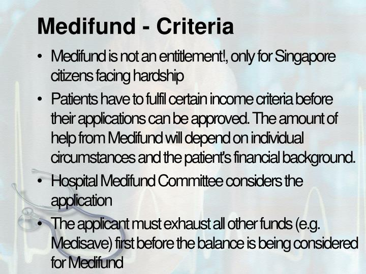 Medifund - Criteria