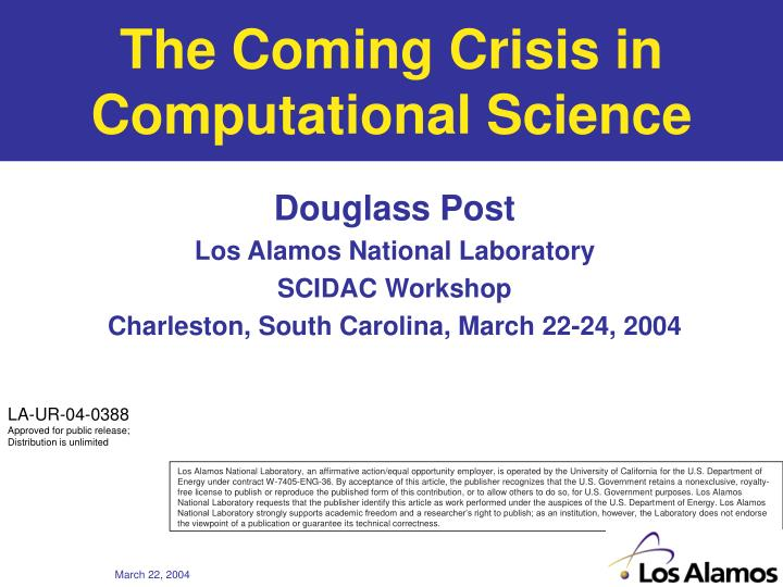 the coming crisis in computational science n.