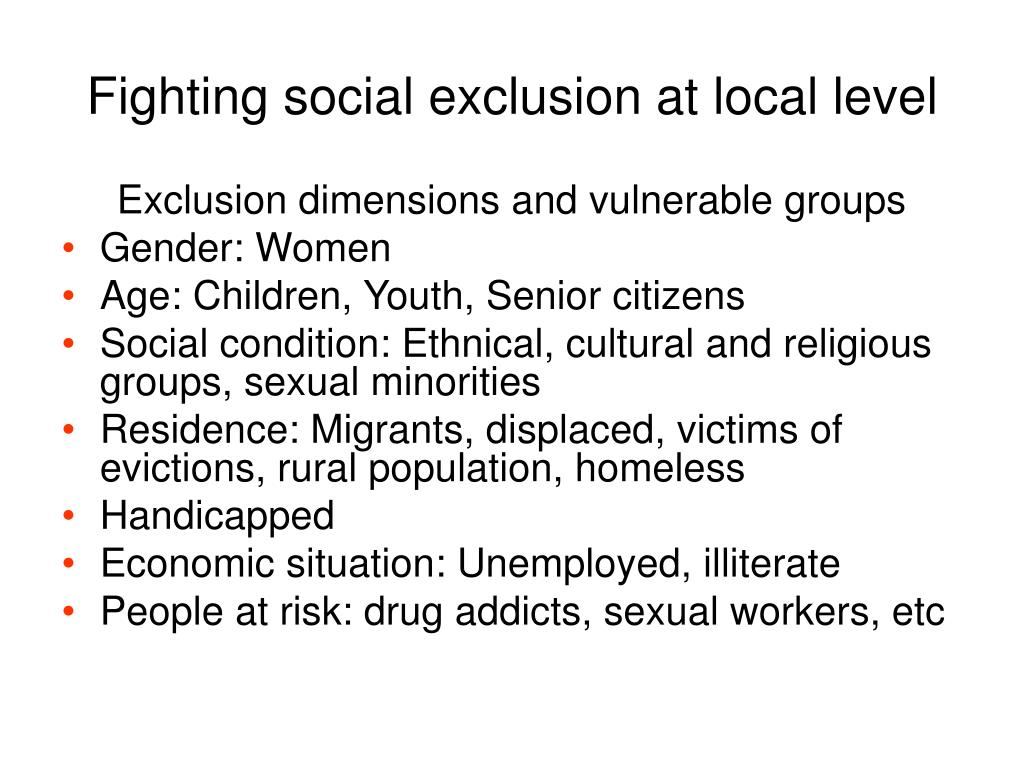 Fighting social exclusion at local level