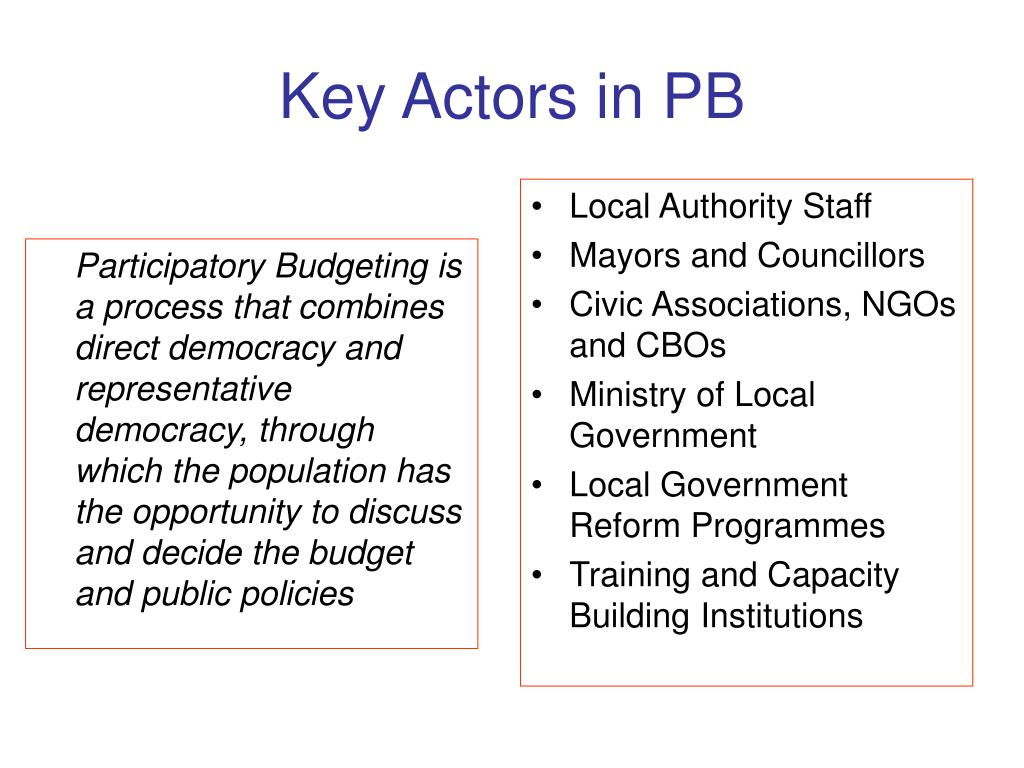 Participatory Budgeting is  a process that combines direct democracy and representative democracy, through which the population has the opportunity to discuss and decide the budget and public policies