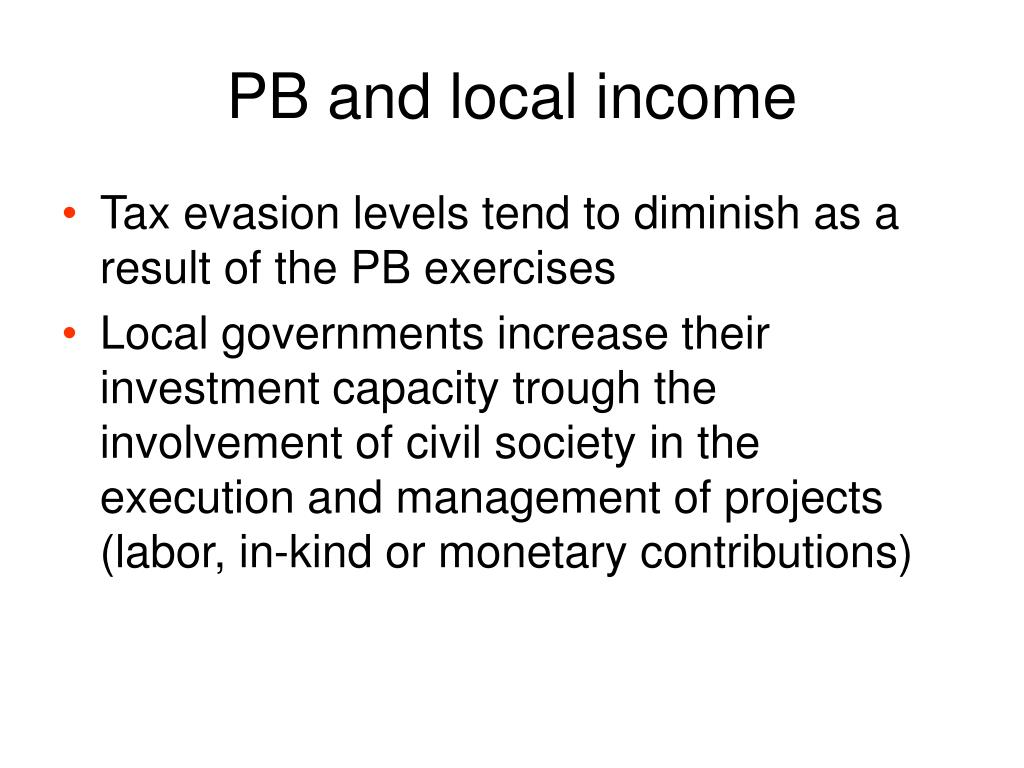 PB and local income