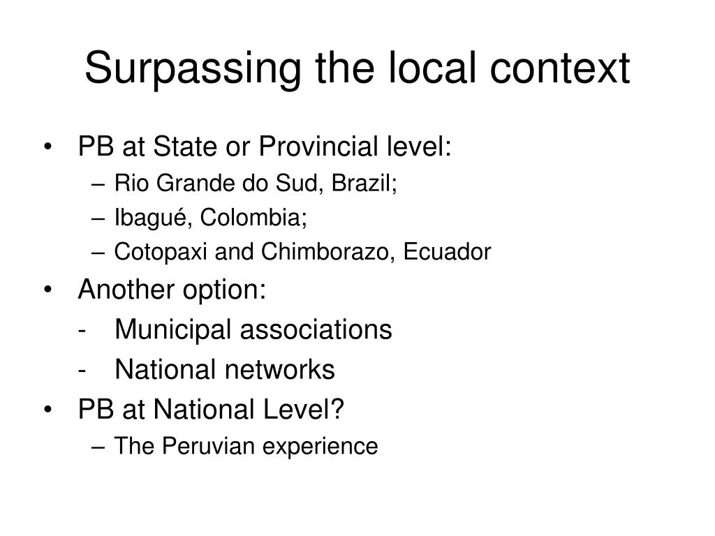 Surpassing the local context