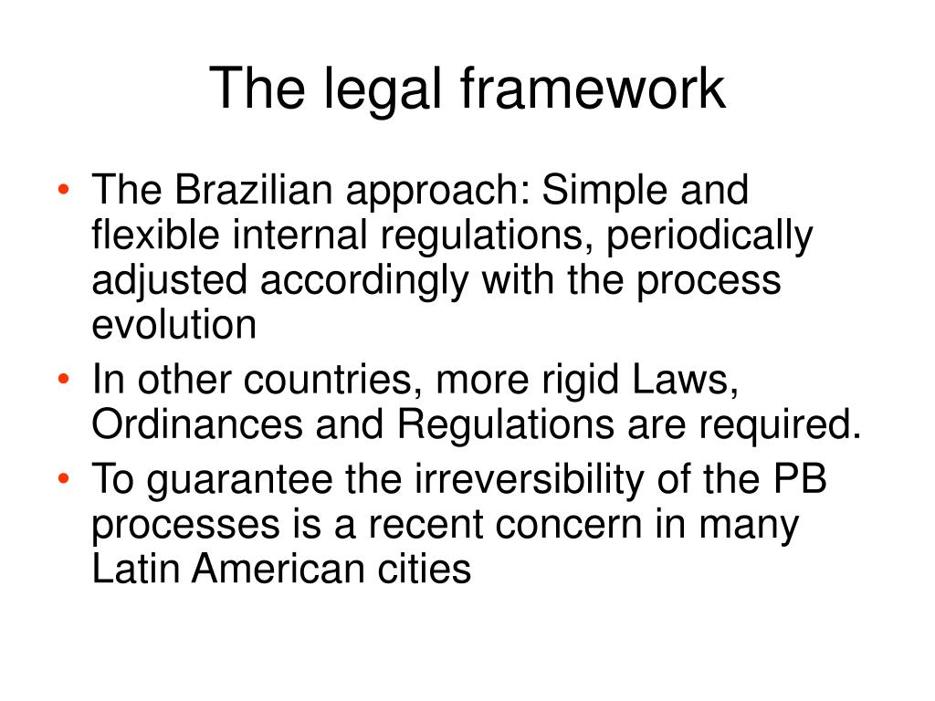 The legal framework