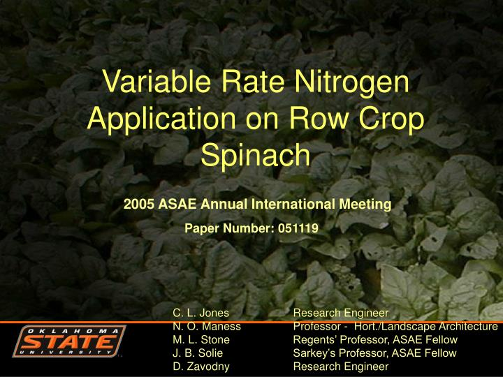 variable rate nitrogen application on row crop spinach n.