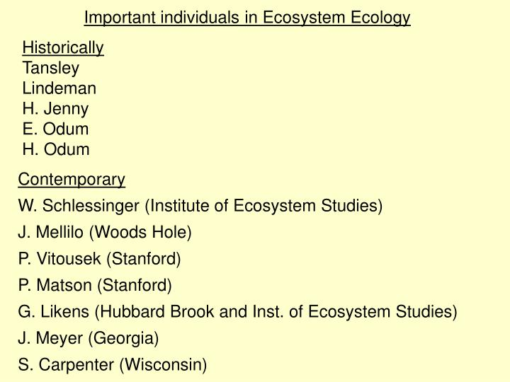 Important individuals in Ecosystem Ecology