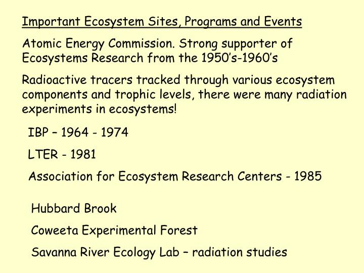 Important Ecosystem Sites, Programs and Events