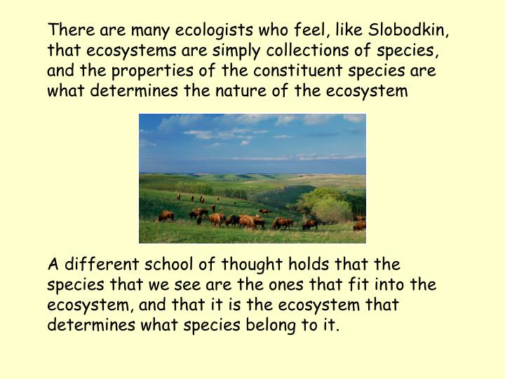 There are many ecologists who feel, like Slobodkin, that ecosystems are simply collections of species, and the properties of the constituent species are what determines the nature of the ecosystem