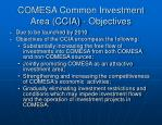 comesa common investment area ccia objectives