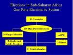 elections in sub saharan africa one party elections by system