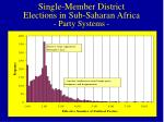 single member district elections in sub saharan africa party systems