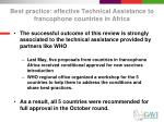best practice effective technical assistance to francophone countries in africa