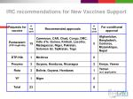 irc recommendations for new vaccines support