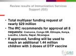 review results of immunization services support iss