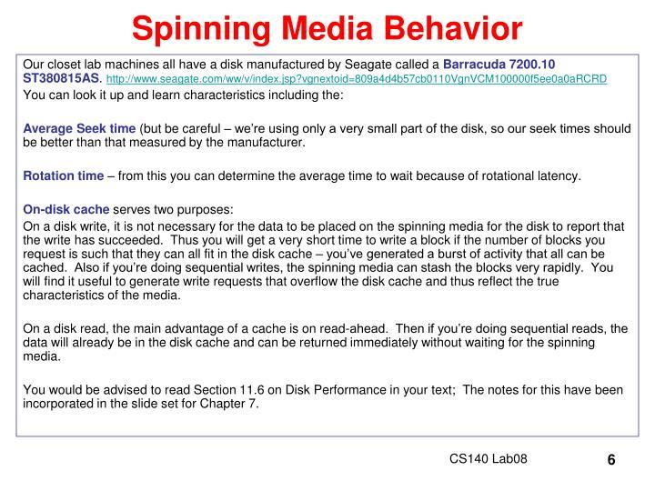 Spinning Media Behavior