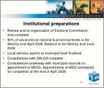 institutional preparations