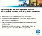 o perating and maintaining sound financial management systems including internal controls
