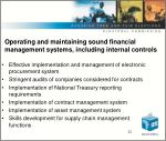 o perating and maintaining sound financial management systems including internal controls22