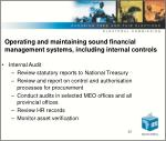 o perating and maintaining sound financial management systems including internal controls25