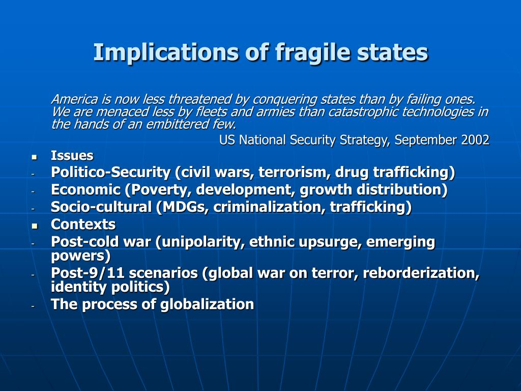 Implications of fragile states