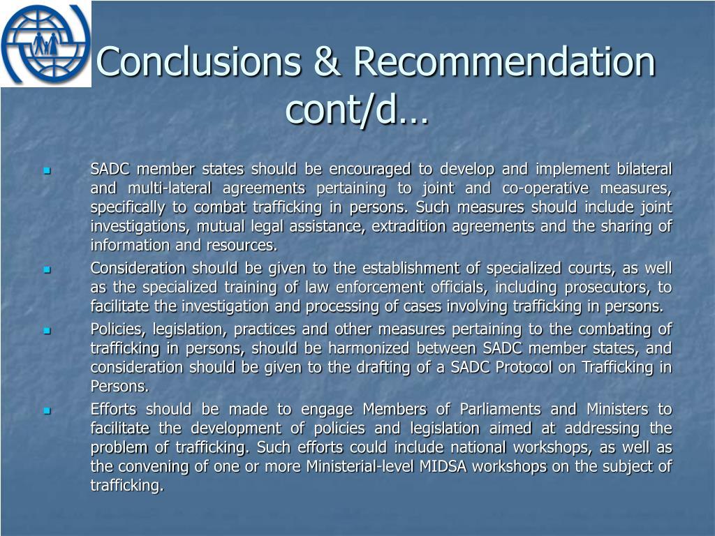 Conclusions & Recommendation cont/d…