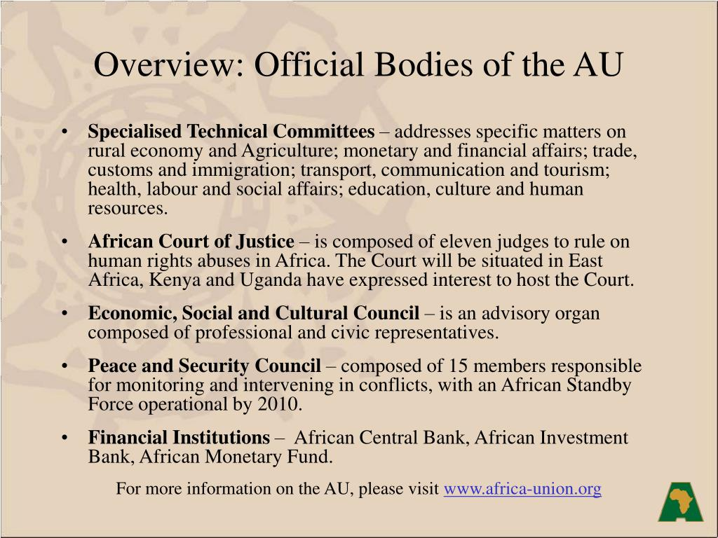 Overview: Official Bodies of the AU