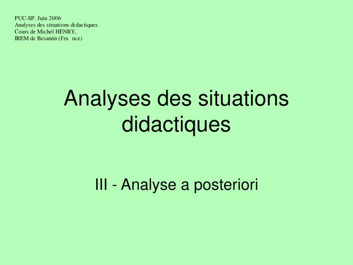 analyses des situations didactiques n.