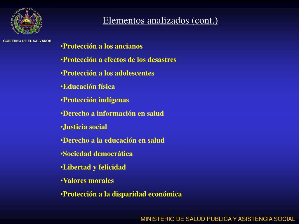 Elementos analizados (cont.)