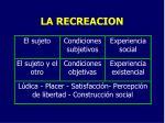 la recreacion