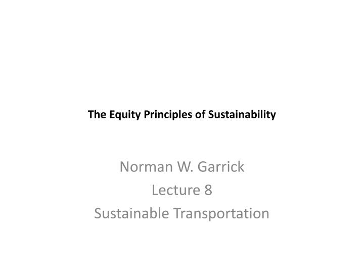 the equity principles of sustainability n.