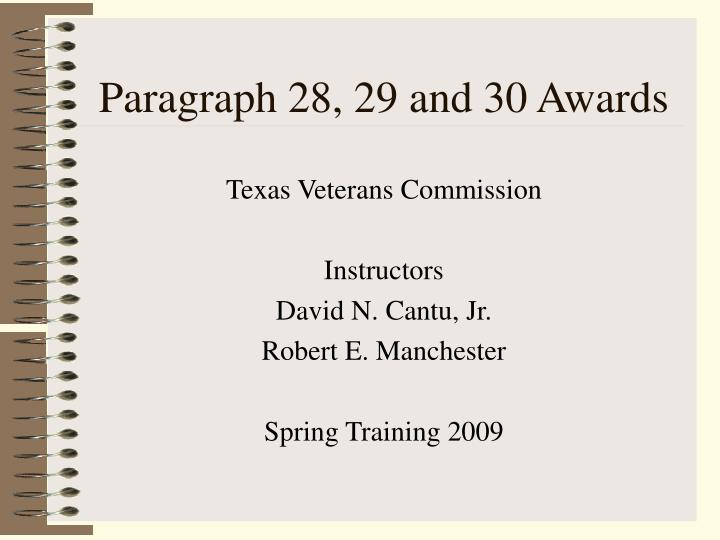 paragraph 28 29 and 30 awards n.