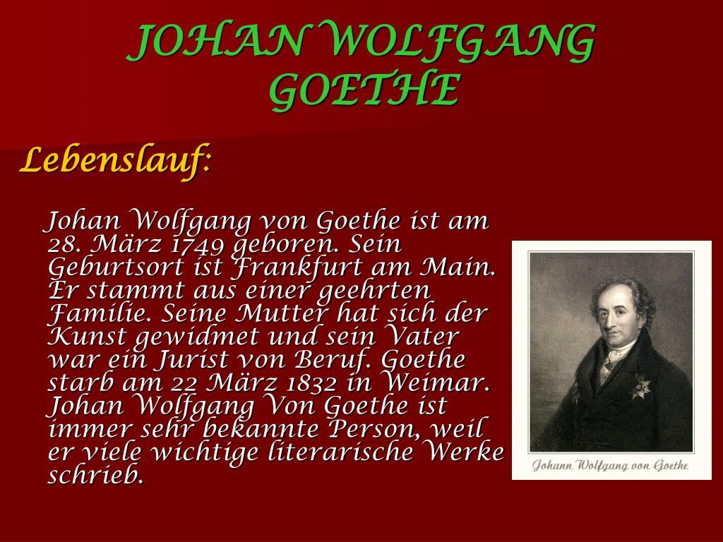Biographie Von Goethe Deutsch Daf Arbeitsblatter