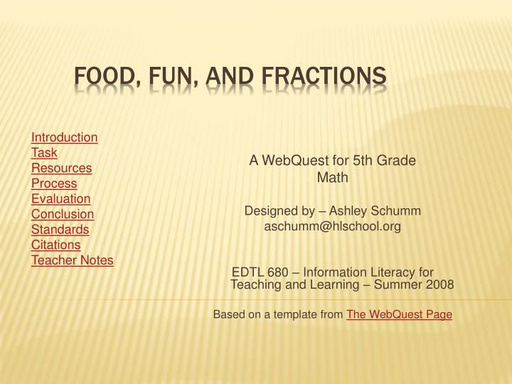 food fun and fractions n.