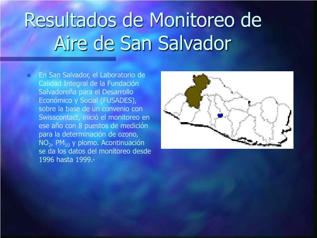 Resultados de Monitoreo de Aire de San Salvador