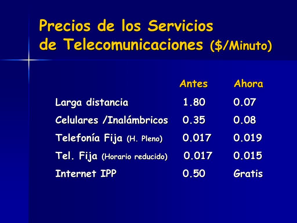 Precios de los Servicios