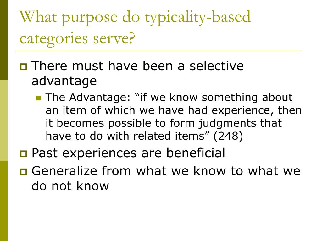 What purpose do typicality-based categories serve?