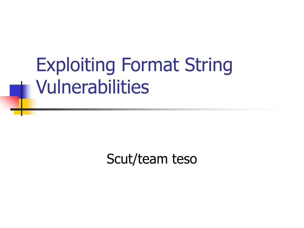 exploiting format string vulnerabilities l.