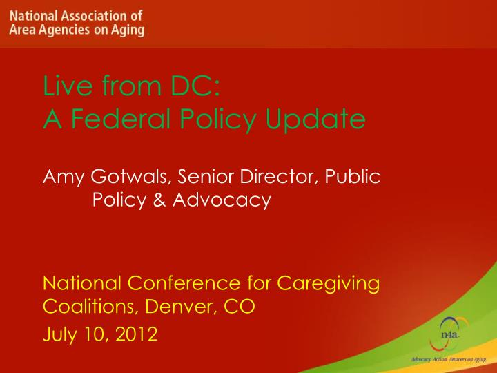 live from dc a federal policy update n.