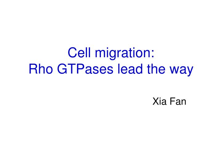 cell migration rho gtpases lead the way n.