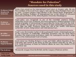 mandate for palestine sources used in this study