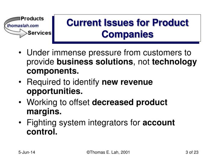 Current issues for product companies
