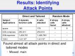 results identifying attack points