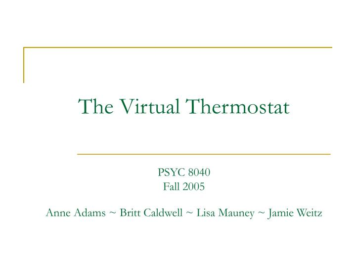 the virtual thermostat n.