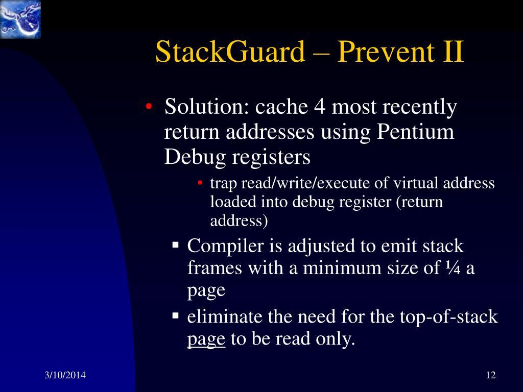 StackGuard – Prevent II