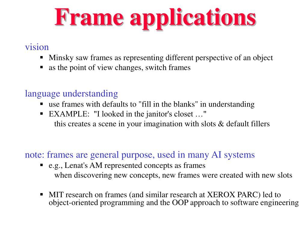 Frame applications