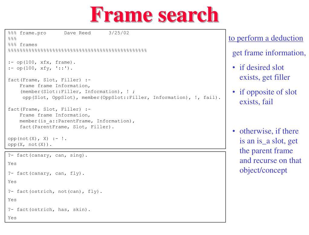 Frame search