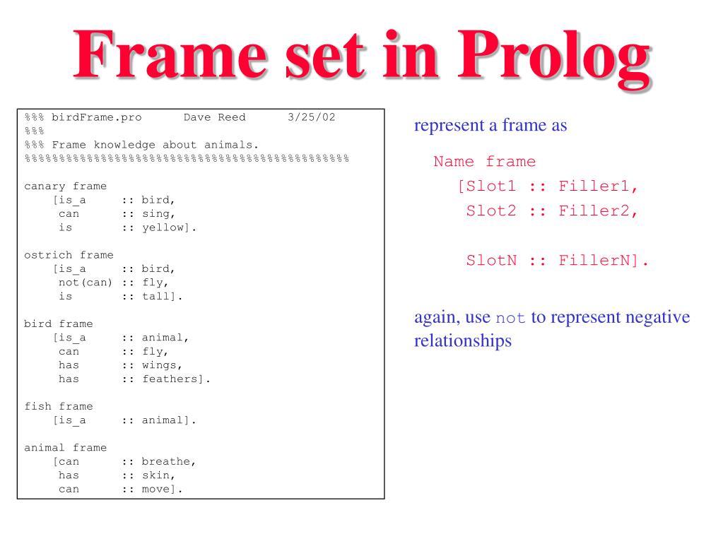 Frame set in Prolog