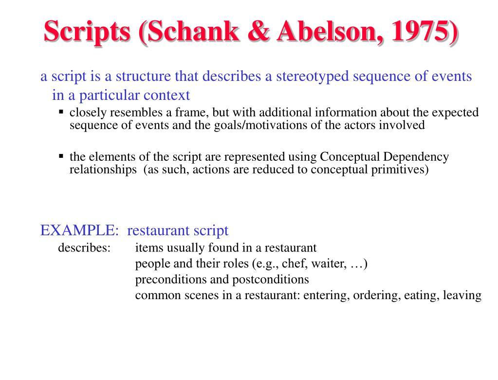 Scripts (Schank & Abelson, 1975)