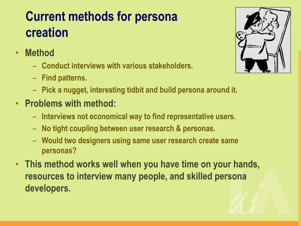 Current methods for persona