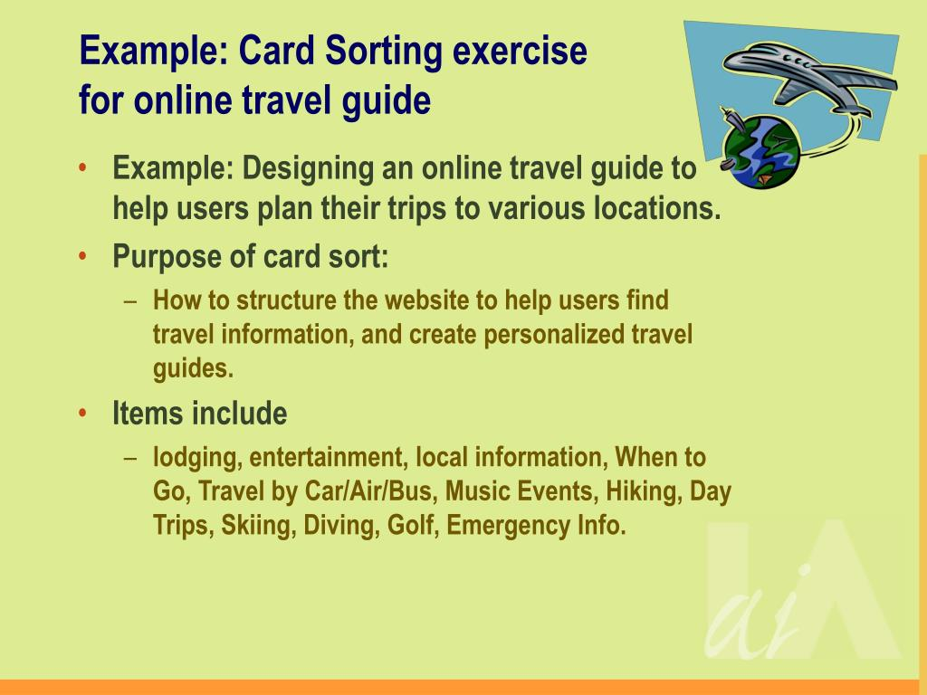 Example: Card Sorting exercise for online travel guide